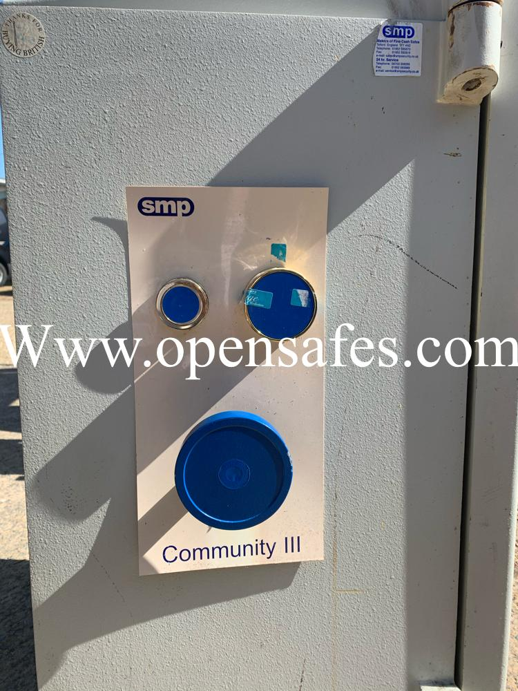 SMP Community safe, lost combination and lost key, cracked open in West Sussex